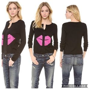 Alice + Olivia Black Pink Embellished Lip Cardigan